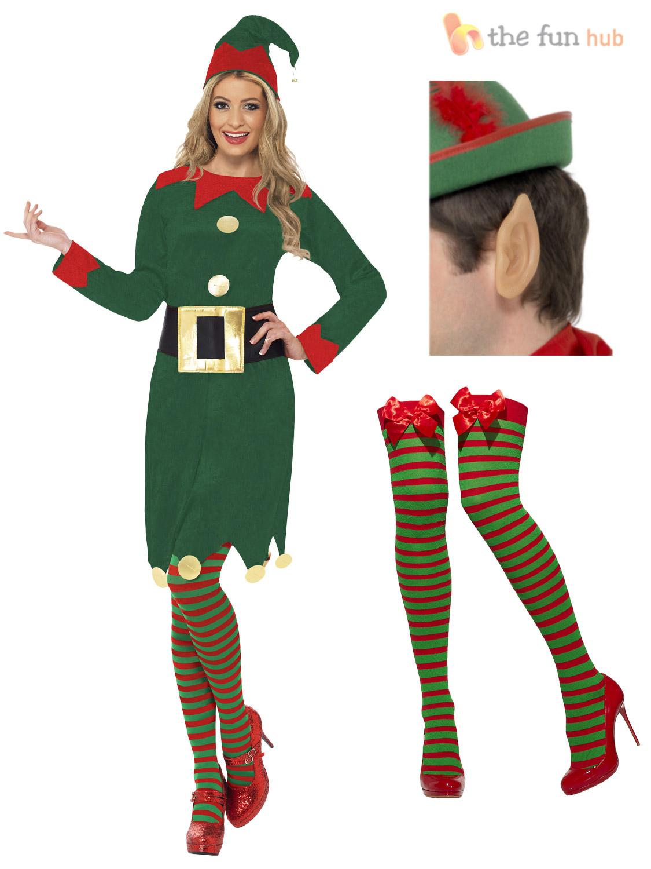 Ladies elf costume christmas santas little helper womens