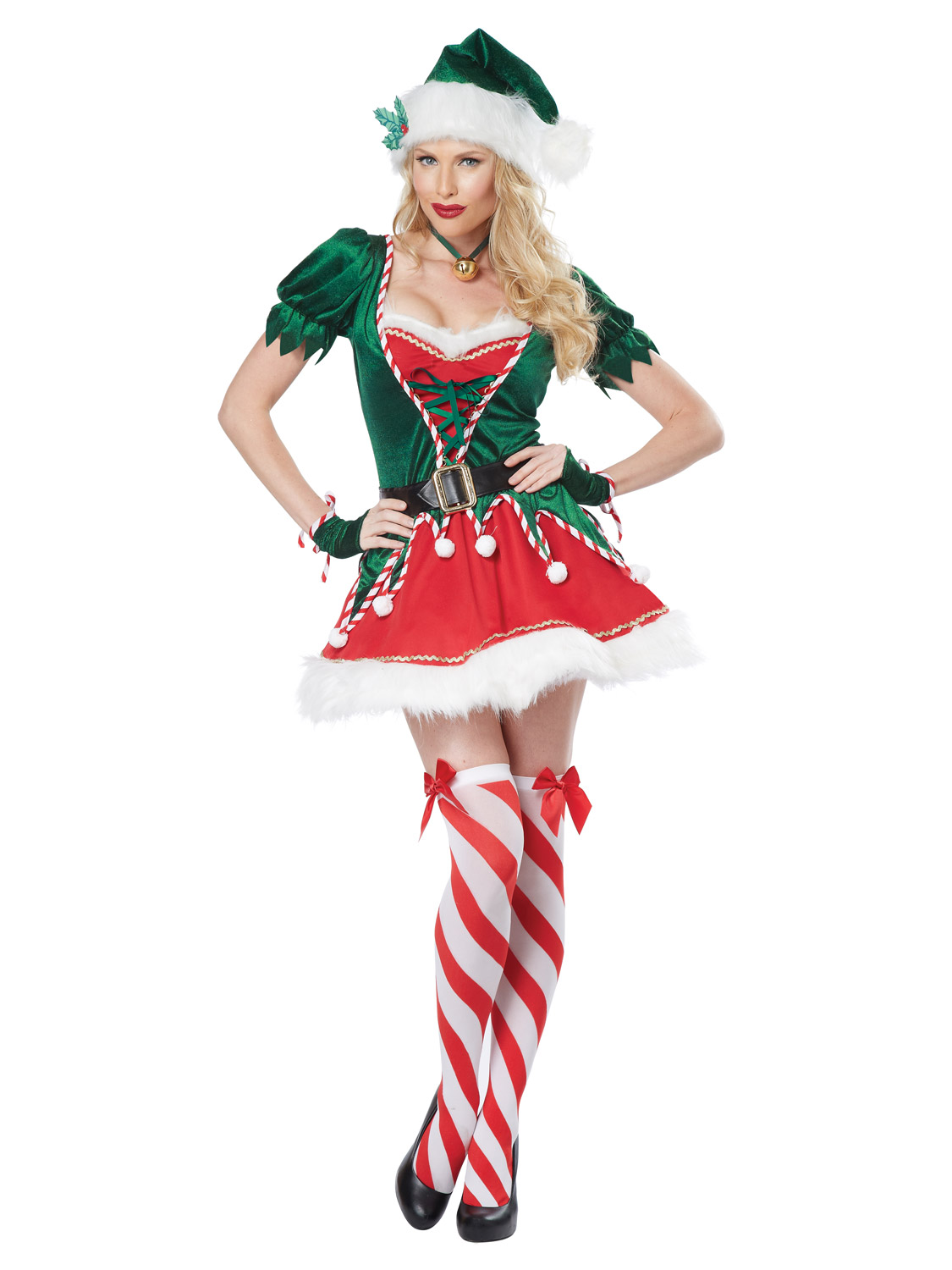 Ladies deluxe sexy elf santas helper outfit womens christmas fancy image 2 solutioingenieria Images