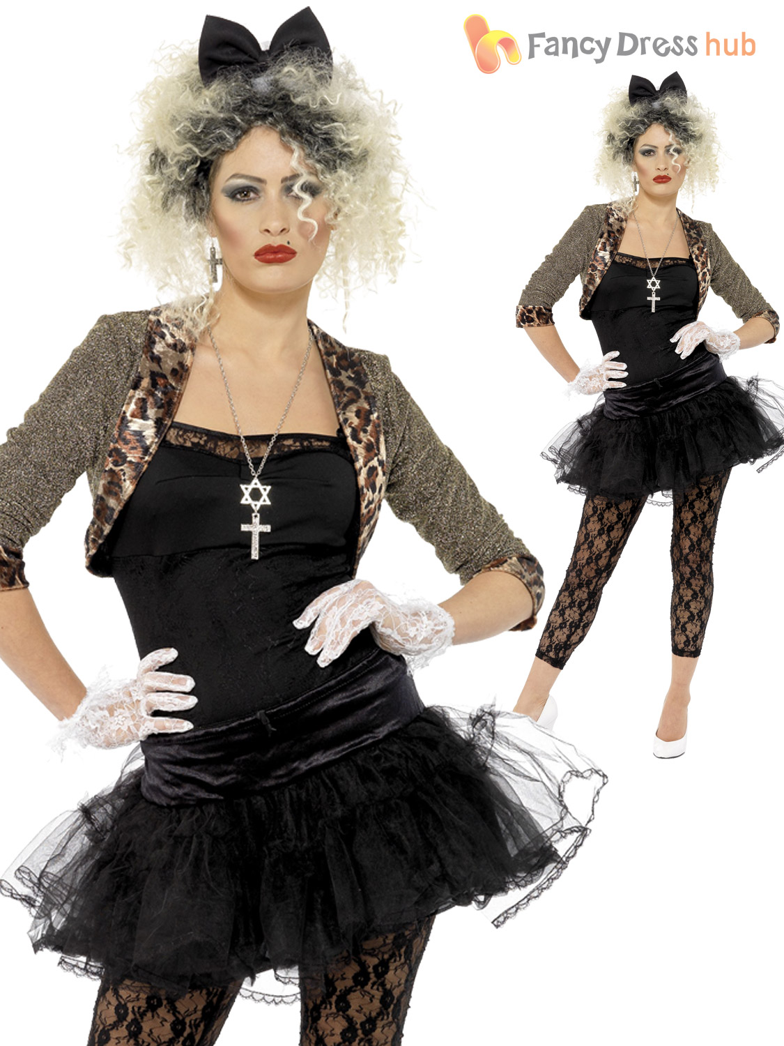 Ladies 80s Fancy Dress Pop Star Costume 1980s Wild Child