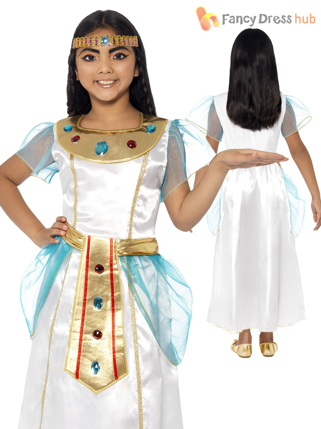 Deluxe-Girls-Cleopatra-Costume-Child-Egyptian-Queen-Goddess-  sc 1 st  eBay & Deluxe Girls Cleopatra Costume Child Egyptian Queen Goddess Kids ...