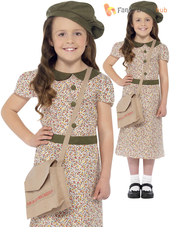 Girls-1940s-WW2-School-Girl-Costume-World-War-2-40-039-s-Kids-Fancy-Dress-Book-Day
