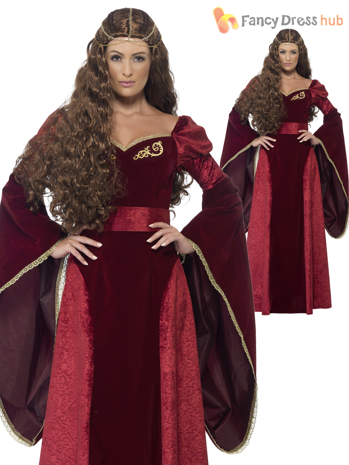 a7800bc8771 Size 8-22 Ladies Medieval Queen Costume Womens Tudor Game of Thrones ...