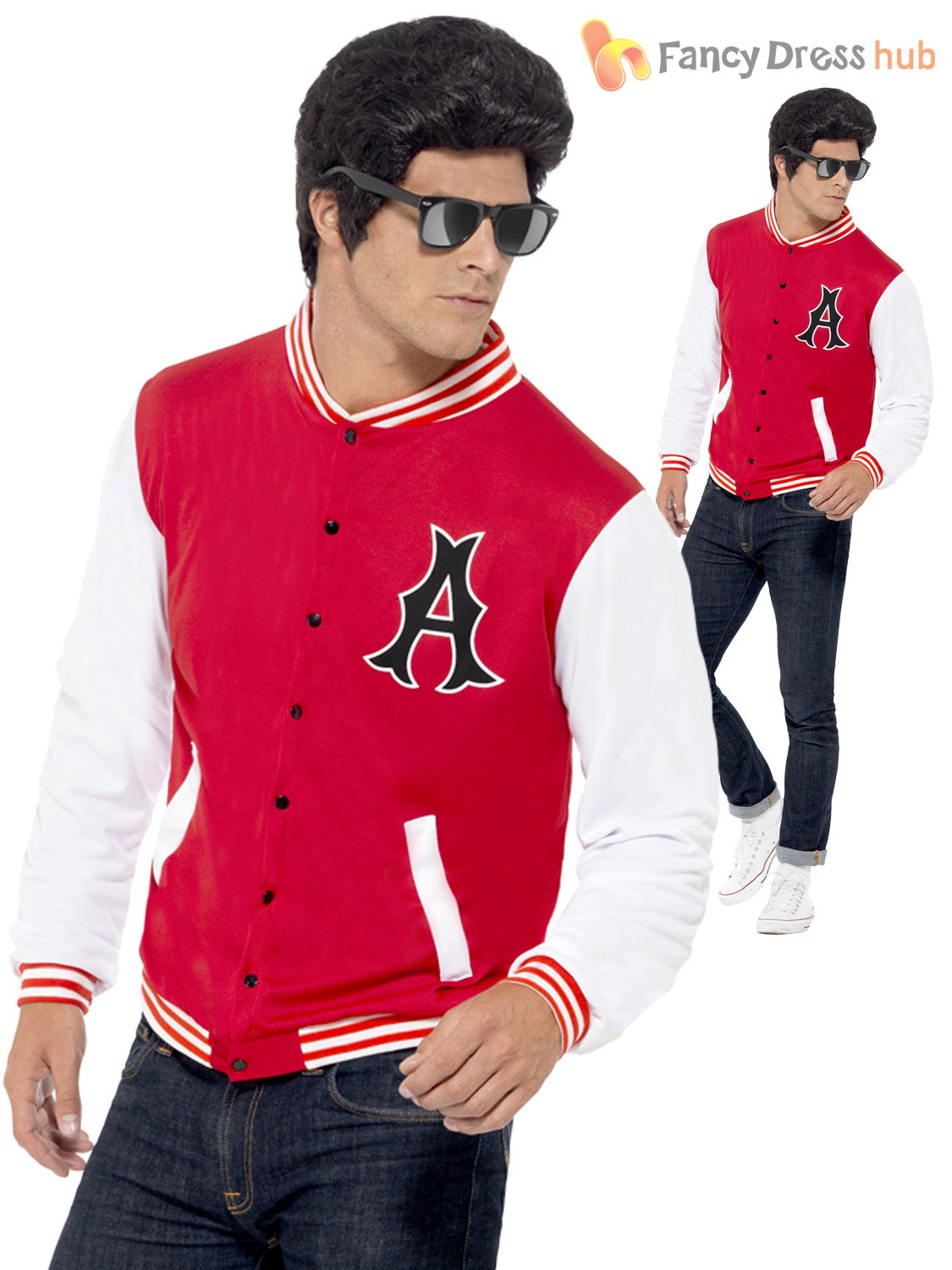 Details about Mens 50s 1950\u0027s Sports Jacket Letterman Rydell High School  Fancy Dress Costume