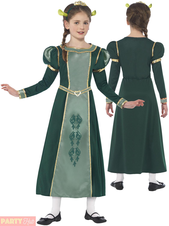 Girls-Princess-Fiona-Costume-Childs-Shrek-Fancy-Dress-  sc 1 st  eBay & Girls Princess Fiona Costume Childs Shrek Fancy Dress Kids Book Week ...