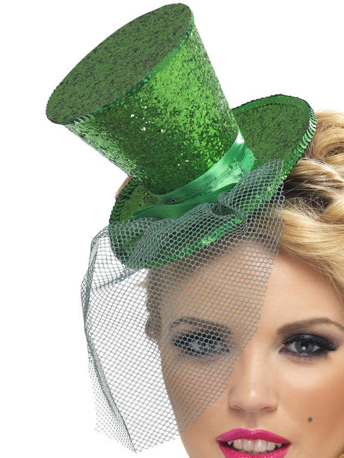 Ladies Green Mini Top Hat on Headband