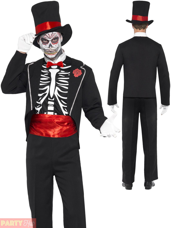 Mens day of the dead costume james bond skeleton tux suit halloween fancy dress ebay - James bond costume ...