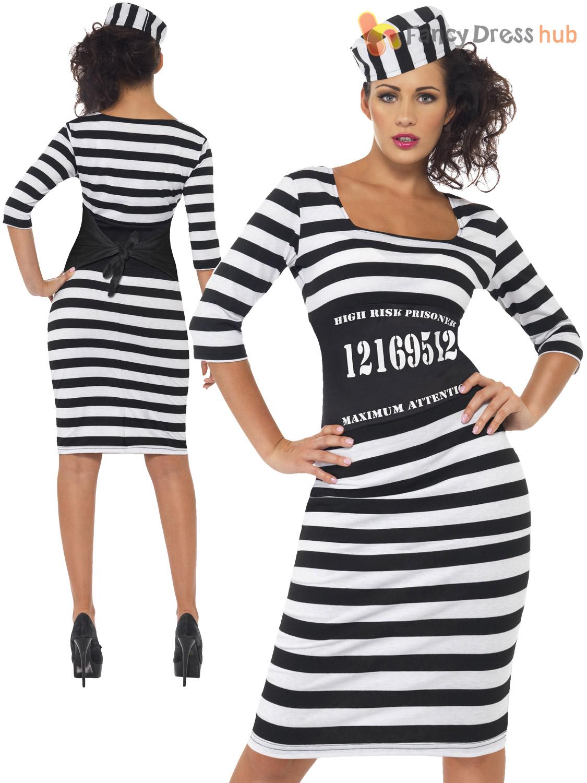 Adults Classy Convict Costume Ladies Sexy Prisoner Fancy Dress ... 7c639e0a33e