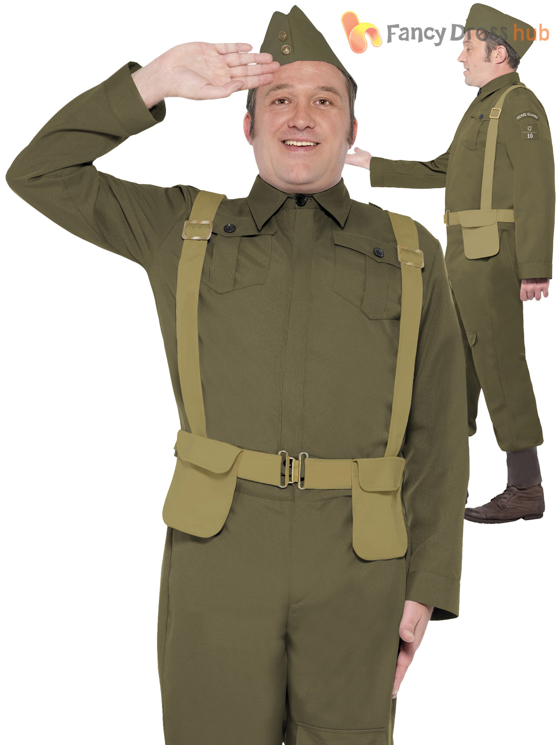 2e186a301e0 Details about Adults WW2 Home Guard Private Costume Mens Dads Army Fancy  Dress Uniform Outfit