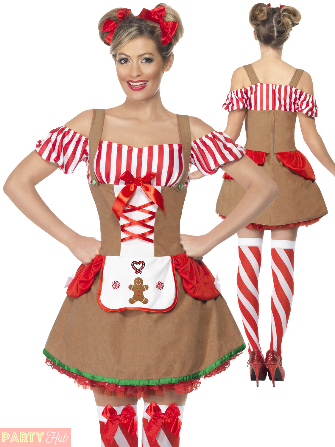 Ladies gingerbread costume adults christmas fancy dress