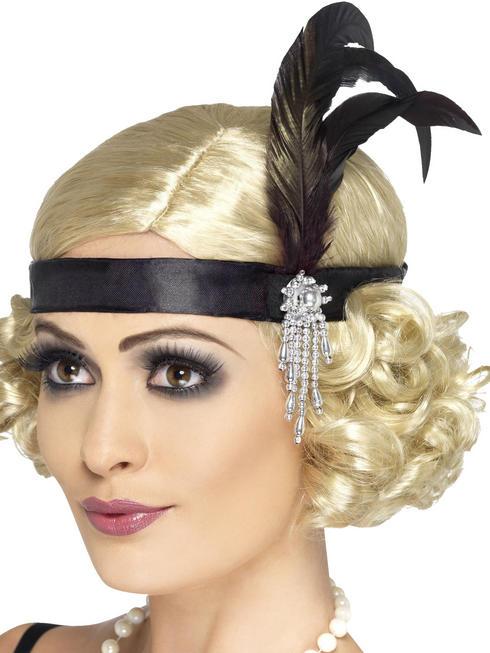 Black Satin Charleston Headband