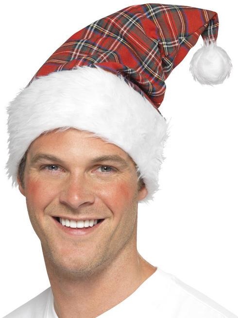 Adult's Tartan Santa Hat