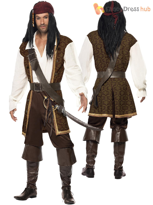 Mens-High-Seas-Pirate-Costume-Adult-Buccaneer-Captain-  sc 1 st  eBay.ph & Mens High Seas Pirate Costume Adult Buccaneer Captain Fancy Dress ...