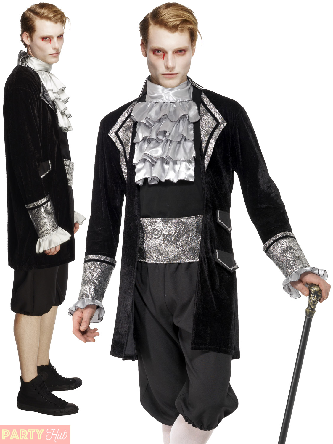 Mens Fever Baroque Vampire Costume Adult Masquerade Halloween Fancy Dress Outfit | eBay