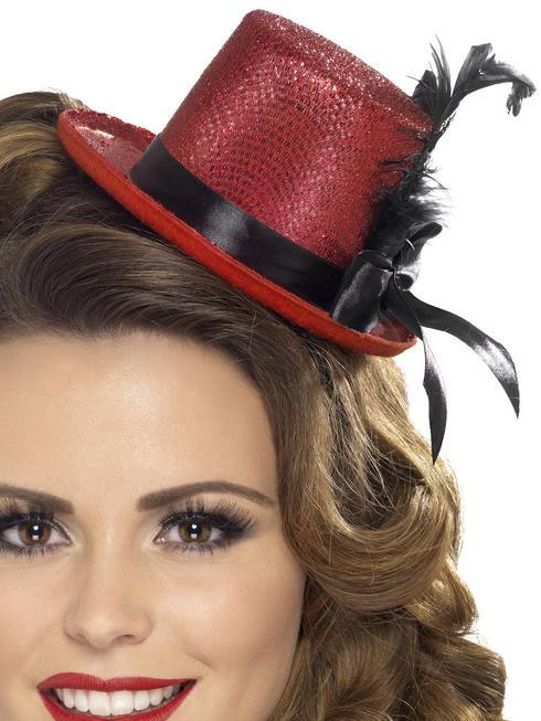 Ladies Red Mini Top Hat