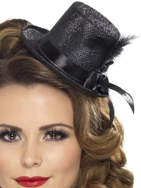 Ladies Black Mini Top Hat