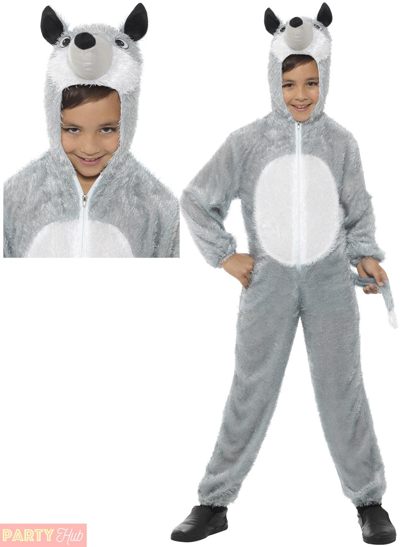Child-Wolf-Fox-Mouse-Costume-Boys-Girls-Animal-  sc 1 st  eBay & Child Wolf Fox Mouse Costume Boys Girls Animal Fancy Dress Kids Book ...