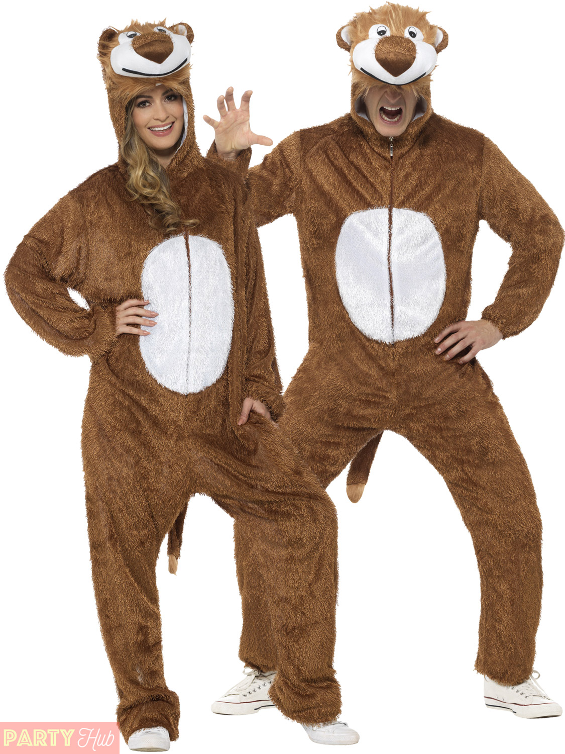 Adults Lion Costume Mens Ladies Animal Fancy Dress Zoo ...