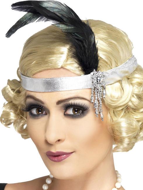 Silver Satin Charleston Headband