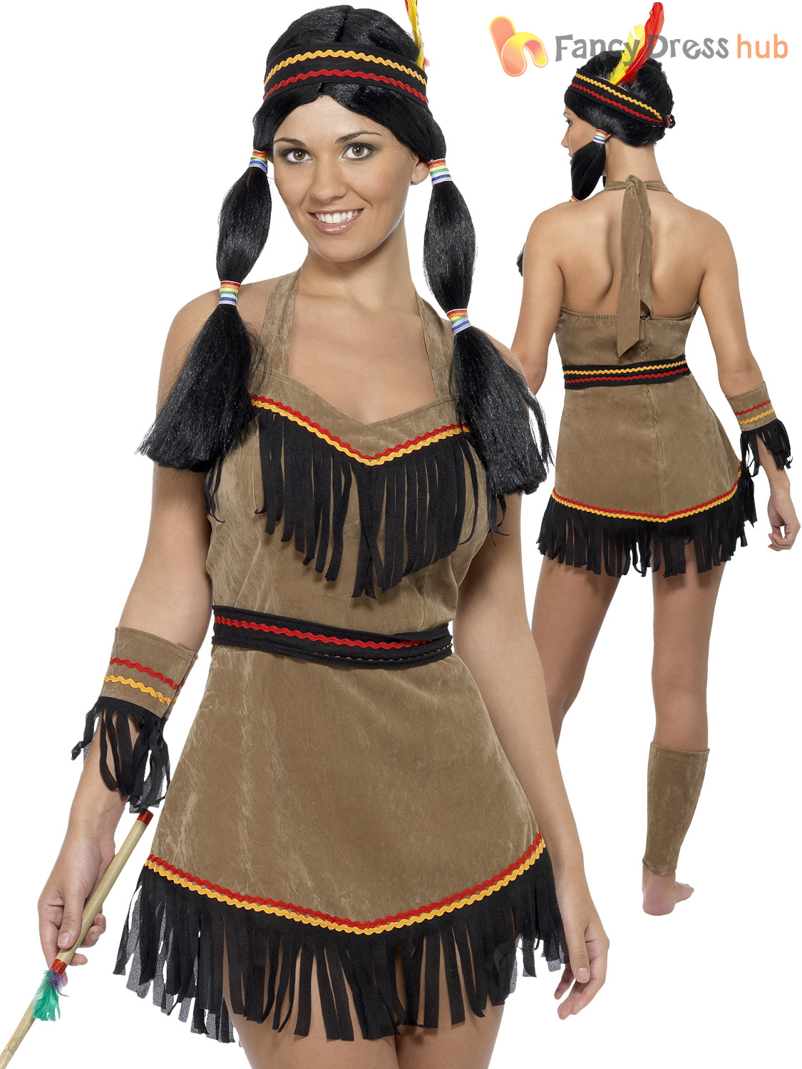 4c1f72cbcbd Ladies Indian Women Costume Adults Native American Fancy Dress Pocahontas  Outfit
