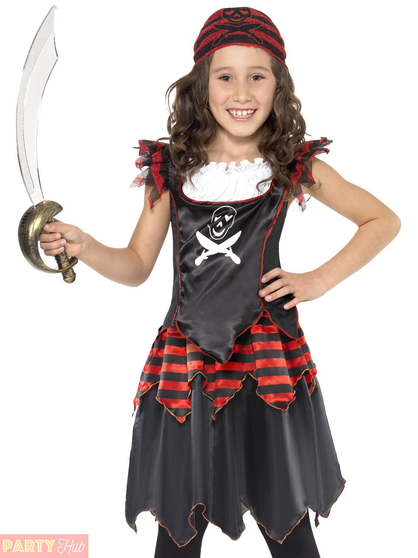 ... Picture 2 of 4 ...  sc 1 st  eBay & Pirate Skull and Crossbones Girls Fancy Dress Costume Kids Pirates ...