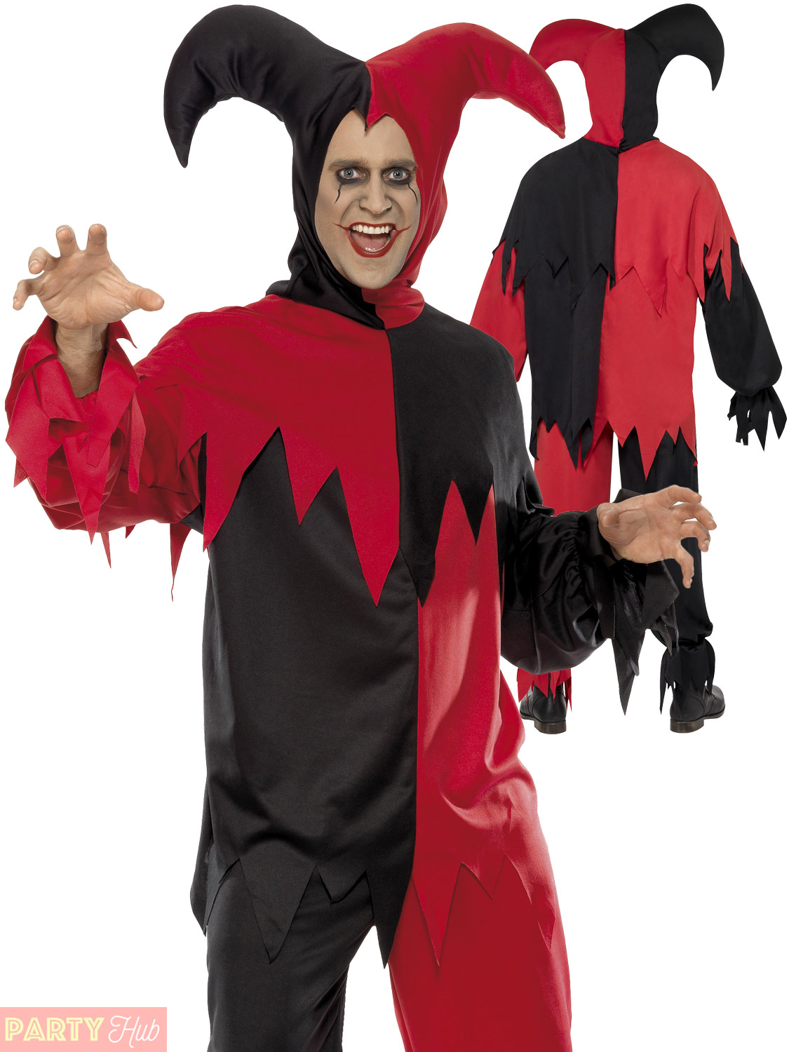 Mens dark jester costume adults horror circus halloween fancy dress mens dark jester costume adults horror circus halloween solutioingenieria Image collections