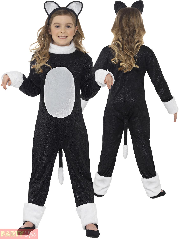 Girls Halloween Black Cat Costume Childs Kitty Fancy Dress Animal