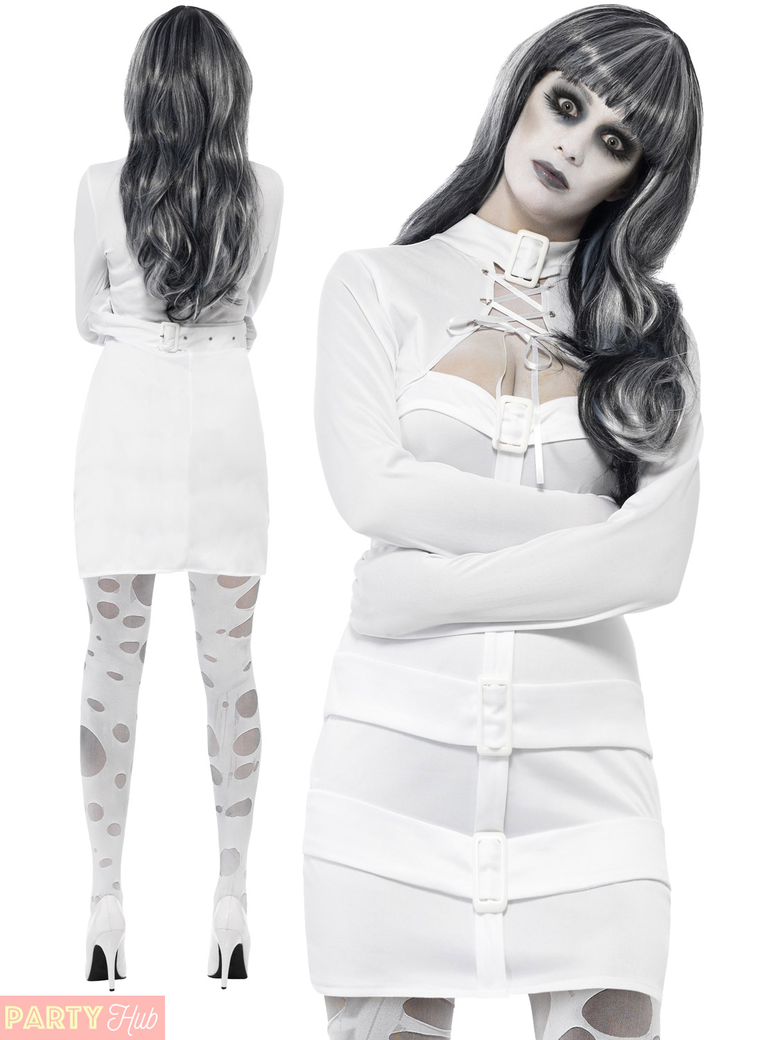 Ladies Psychotic Nympho Costume Womens Halloween Straight Jacket ...