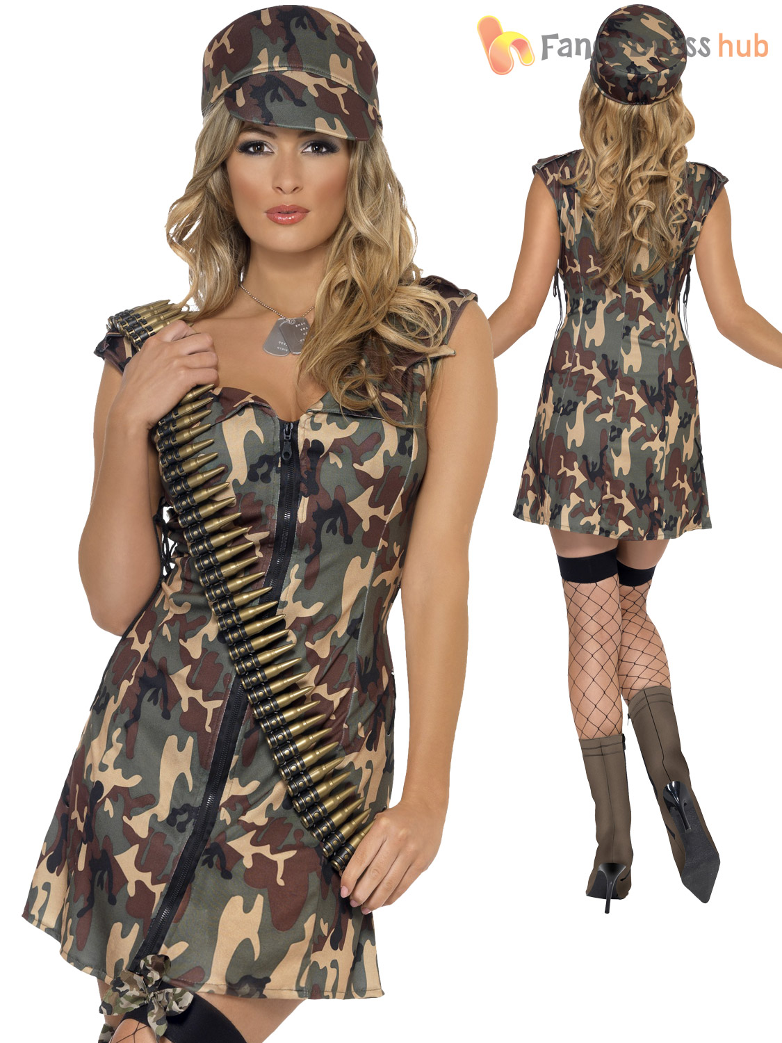 Ladies-Fever-Army-Girl-Costume-Adult-Combat-Solider-Fancy-Dress-Camo-Military thumbnail 3