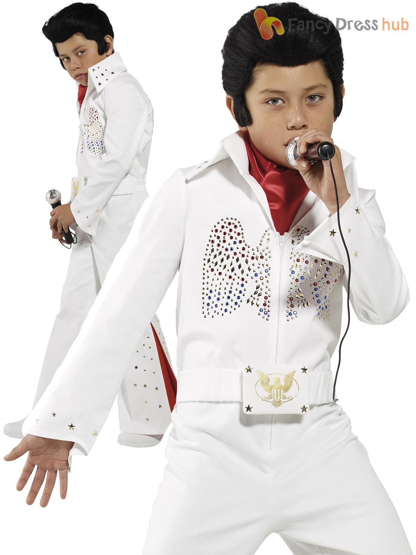 Childrens-Elvis-Traje-Chicos-Estrella-Del-Pop-Fancy-Dress-Rock-N-Roll-King-Traje-1950s