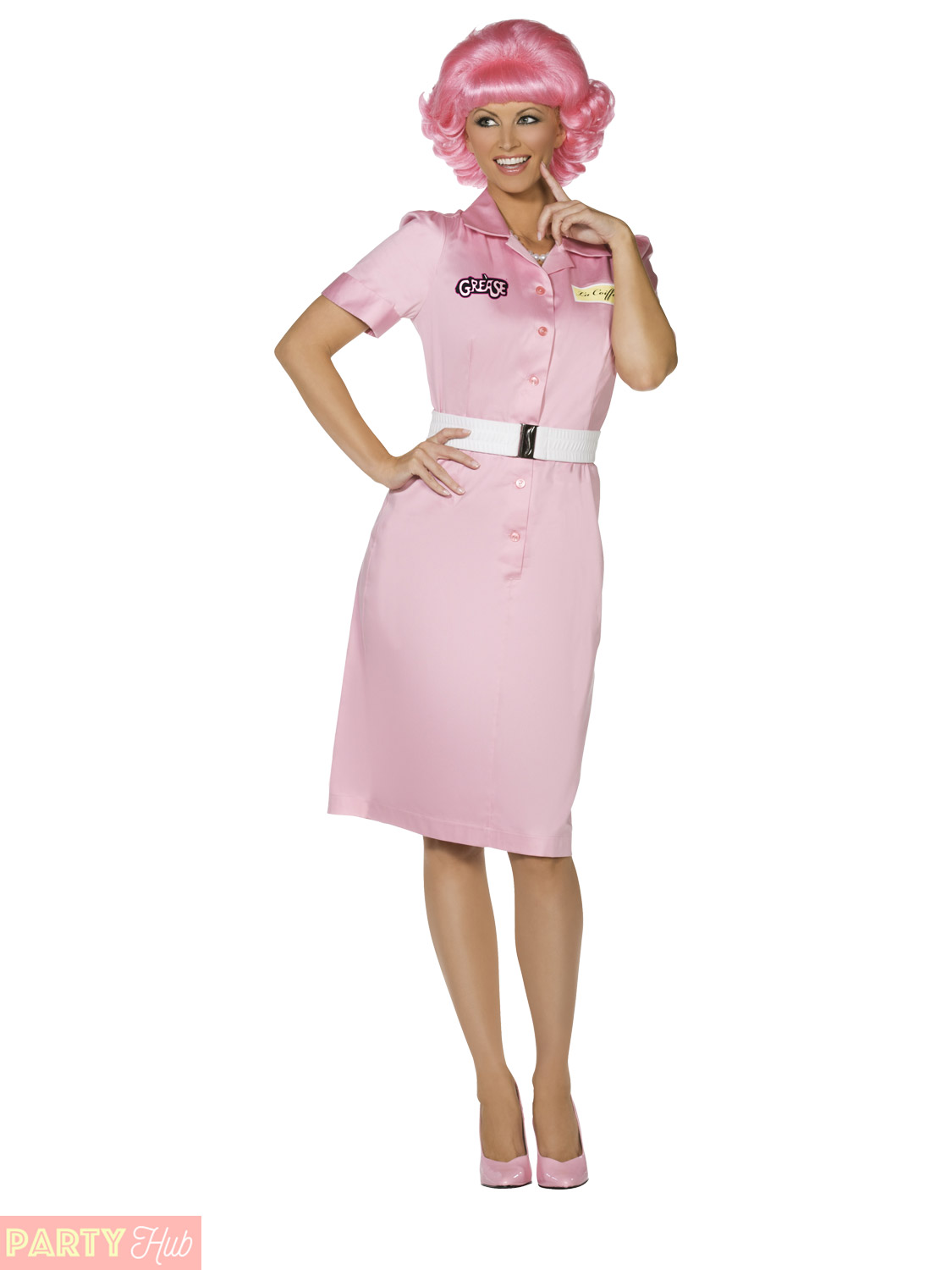 ladies frenchy costume adults 1950s grease fancy dress womens outfit uk 12 14 ebay. Black Bedroom Furniture Sets. Home Design Ideas