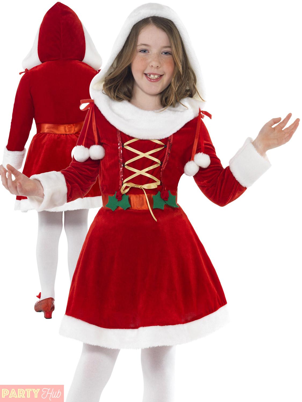 Christmas Fancy Dress Kids.Details About Girls Little Miss Santa Costume Childs Christmas Fancy Dress Kids Xmas Outfit