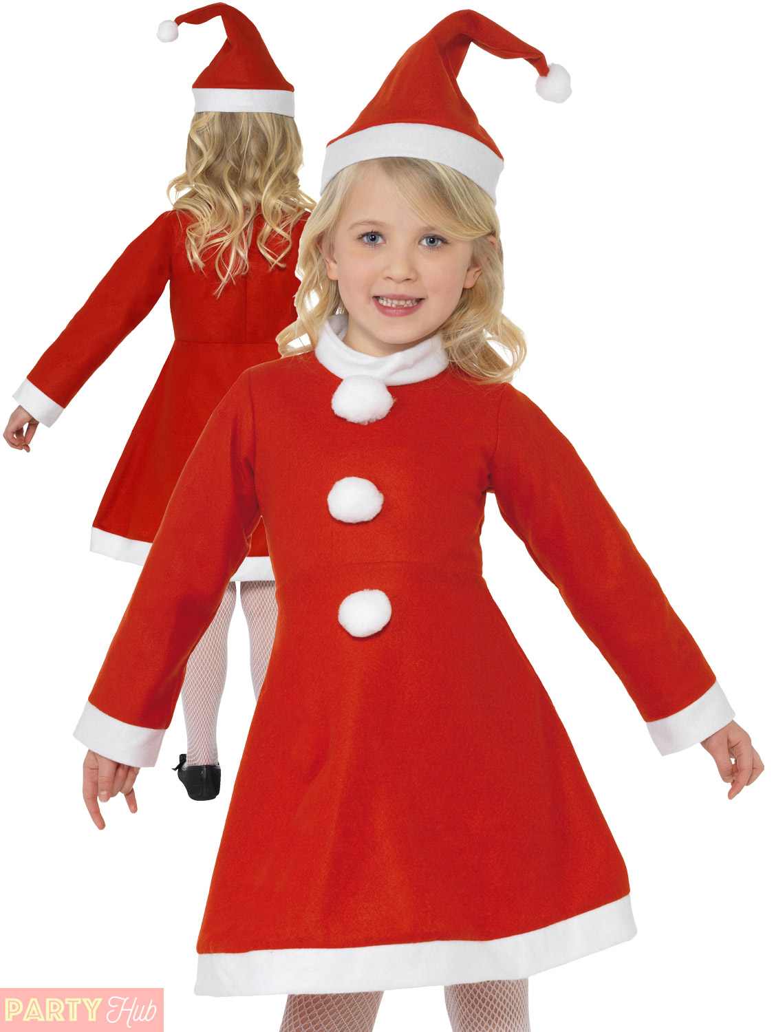 7ac769b2ad2 Details about Girls Miss Santa Costume Childs Christmas Fancy Dress Kids  Value Xmas Outfit