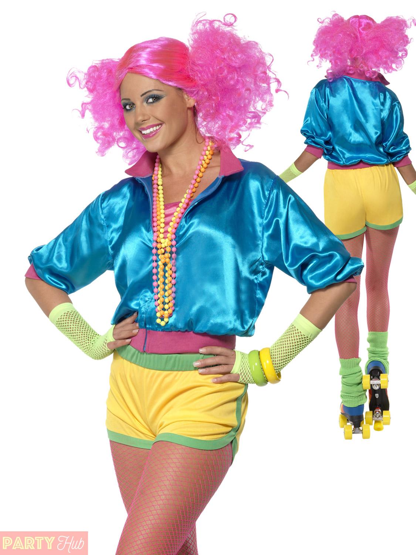 Ladies Skater Girl Costume Adults 1980s Roller Disco Fancy Dress ...