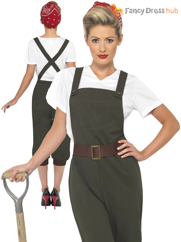 6dd644d248cd Ladies WW2 1940s Land Girl Adults Army World War 2 Fancy Dress ...