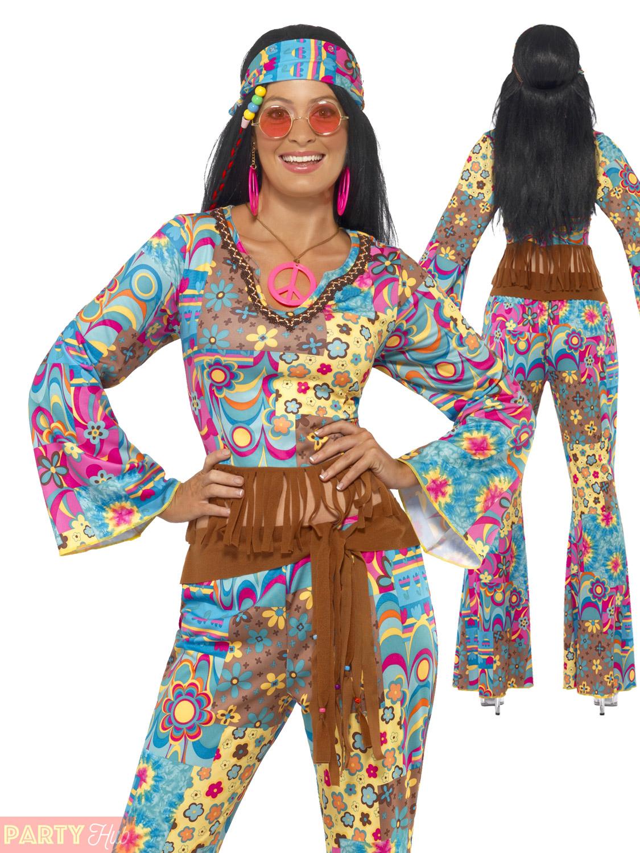 Adults-1960s-1970s-Groovy-Hippie-Costume-Mens-Ladies-  sc 1 st  eBay & Adults 1960s 1970s Groovy Hippie Costume Mens Ladies Hippy Fancy ...