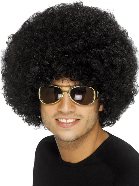 Adult's Black 70s Funky Afro Wig