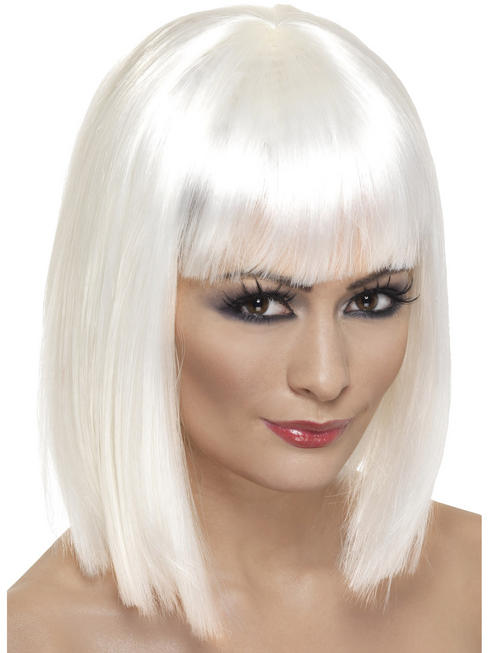 Ladies White Glam Wig