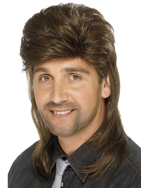 Men's Brown Mullet Wig
