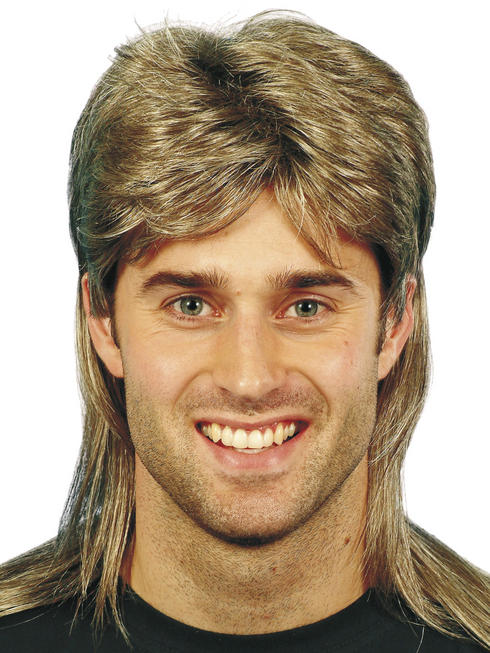 Mullet Wig with Blonde Highlights