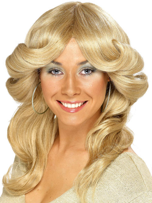Ladies Blonde 70s Flick Wig