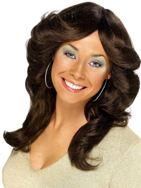 Ladies Brown 70s Flick Wig