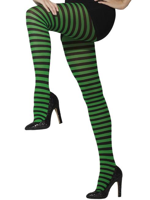 Ladies Green Striped Tights