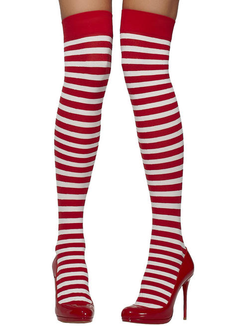 Ladies Red & White Striped Stockings