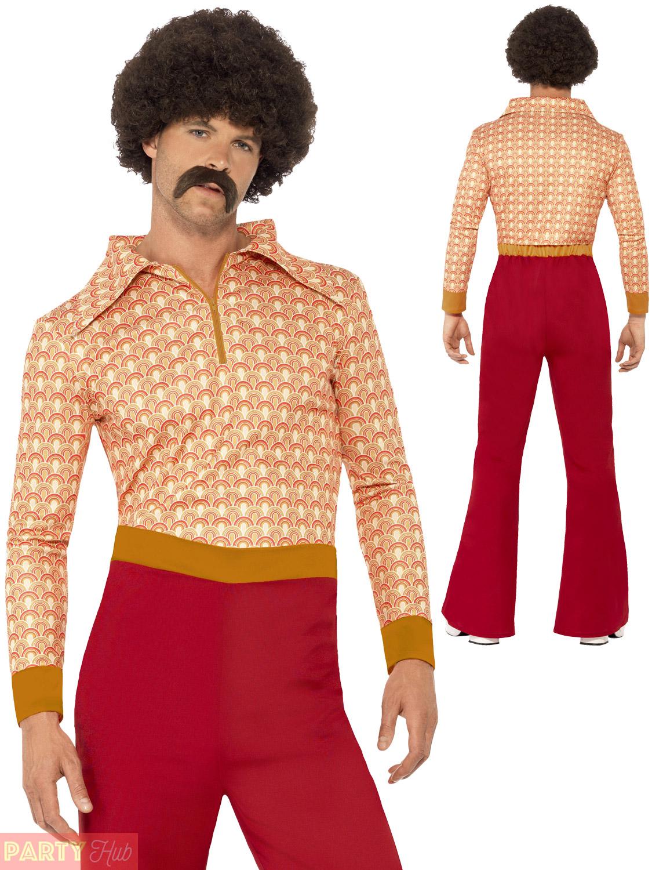 mens ladies 70s costume disco hippy flares jumpsuit