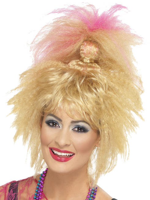 Ladies 80s Crimped High Ponytail Wig