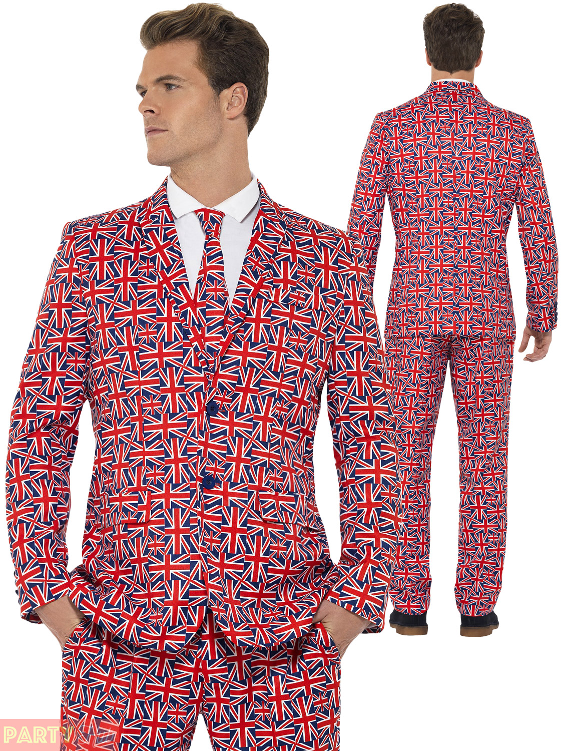 Adults Union Jack Stand Out Suit Mens British Fancy Dress Stag Do ...