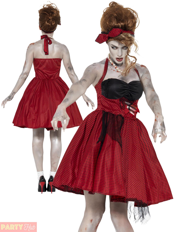 smiffys zombie 50s rockabilly costume - uk dress 12-14 | ebay