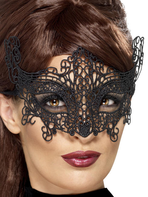 Ladies Black Swirl Lace Filigree Eye Mask