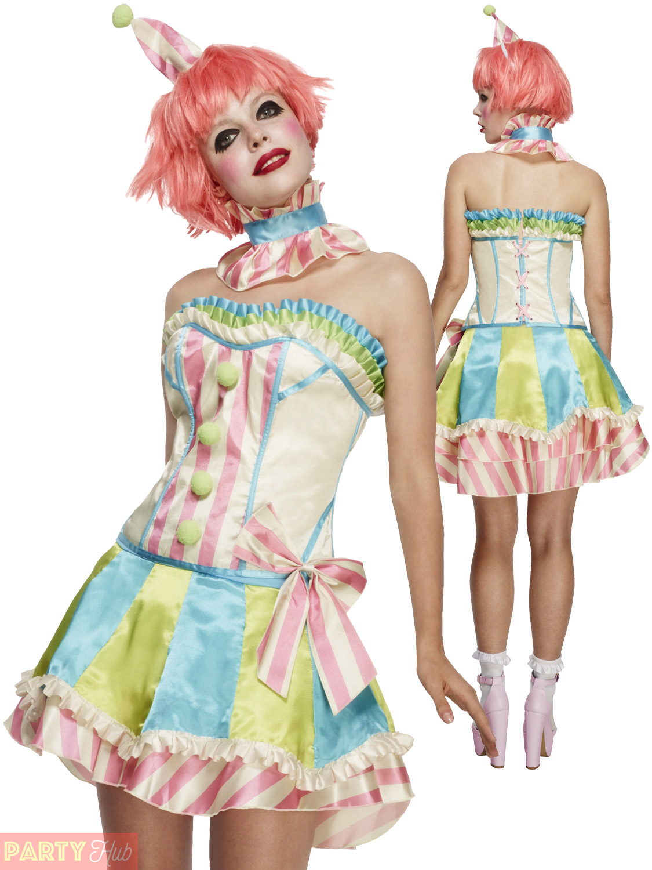 Ladies-Fever-Deluxe-Vintage-Clown-Costume-Adult-Circus-  sc 1 st  eBay & Ladies Fever Deluxe Vintage Clown Costume Adult Circus Fancy Dress ...