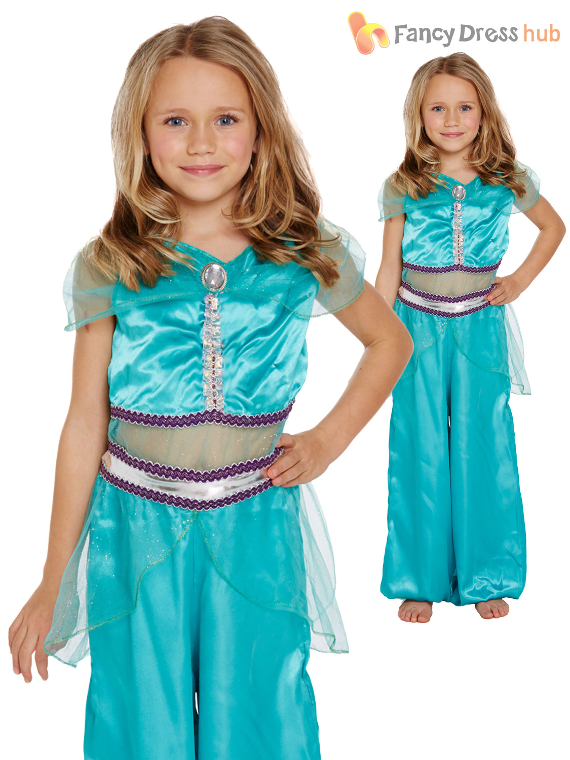 Girls Blue Jasmine Arabian Princess Aladdin Eastern Dance Costume 4 ...